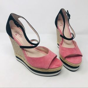 Plenty by Tracy Reese Pink Suede Wedge Sandals